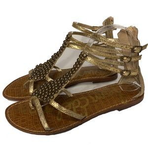 Sam Edelman Ginger Studded Gold Gladiator Sandals